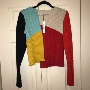 Alice and Olivia Lebell Colorblock Sweater Medium